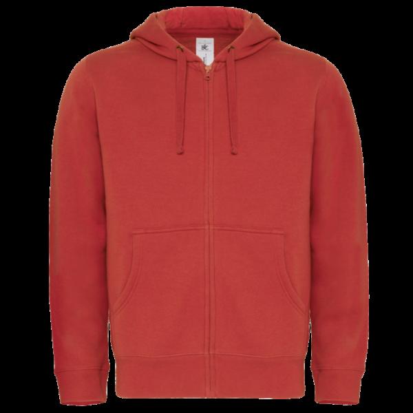 B&C Mens Hooded Full Zip- Red