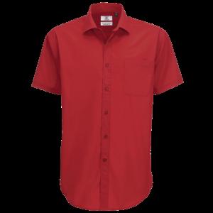 B&C Men's Smart Short Sleeve Shirt - Deep Red