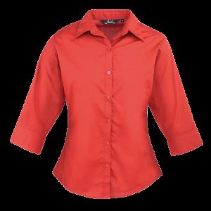 Women's Premier 3/4 Sleeve Poplin Blouse - Red