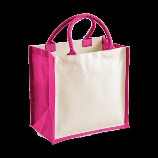 Printers Midi Jute Tote Bag - Fuchsia